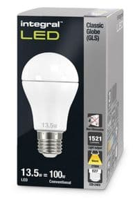100W Equivalent LED Bulb | E27 Classic GLS Globe | Warm White | INTEGRAL