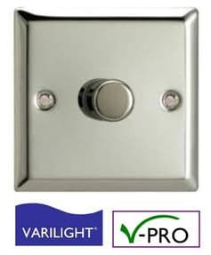 Chrome LED Dimmer Switch | VARILIGHT Intelligent Trailing-Edge (V-Pro) | 1 Gang