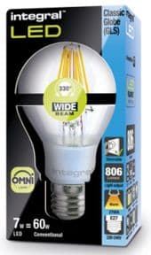 Dimmable Filament LED | 60W Equivalent Bulb | E27 Screw |Integral LED