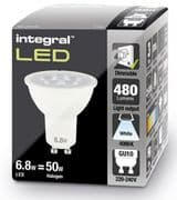 Dimmable GU10 LED Spotlight Bulb | 50 - 60W Equivalent | 480 lumen | Cool White| INTEGRAL
