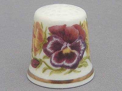 Reutter Thimble - Posy of Pansies