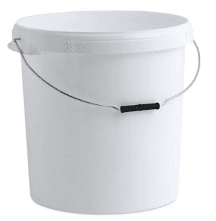 30 LITRE WHITE FOOD GRADE PLASTIC BUCKET CONTAINER & LID