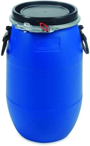 60 Litre Plastic Blue Open Top Barrel with Lid & Ring, UN Approved, Food Grade…