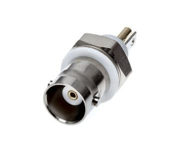 13-28 BNC Co-axial Connector, Isolated Bulkhead, 50 ohm Jack Receptacle