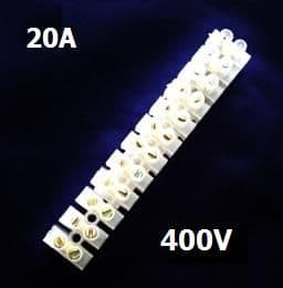 20 AMP TERMINAL BLOCKS 14mm² 12WAY BLOCK CLEAR POLYETHYLENE PE