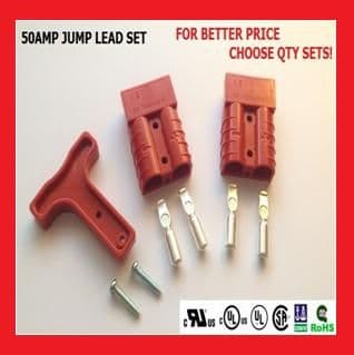 50A Powerpole Jump Start Lead, RED  (Price Per KIT)