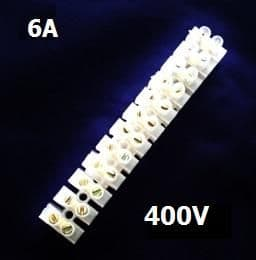 6 AMP TERMINAL BLOCKS 6mm² 12WAY BLOCK CLEAR POLYETHYLENE PE