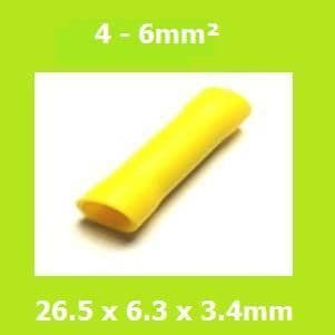 Butt Splice Terminal,  BV5, Yellow, 4-6mm², (Pack of 100)