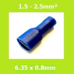 Female Crimp Terminal, FDFD2-250, BLUE, 6.35x0.8mm, Double Crimp, Vinyl Insulated Pack of 100