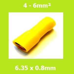Female Crimp Terminal, FDFD5-250, Yellow, 6.35x0.8mm,  Double Crimp, Vinyl Insulated, (Pack of 100)