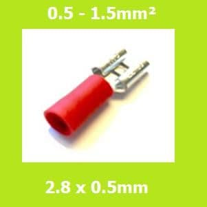 Female Terminal, FDD1-110(5), RED, 2.8 x 0.5mm, Double Crimp, Vinyl Insulated Pack of 100