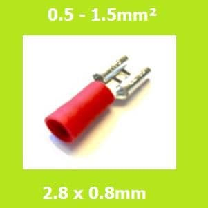 Female Terminal, FDD1-110(8), RED, 2.8 x 0.8mm, Double Crimp, Vinyl Insulated, Pack of 100