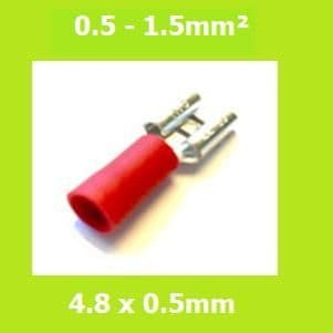 Female Terminal, FDD1-187(5) RED, 4.8x0.5 mm, Double Crimp, Vinyl Insulated Pack of 100