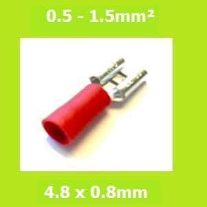 Female Terminal,  FDD1-187(8) RED, 4.8x0.8mm, Double Crimp, Vinyl Insulated, Pack of 100