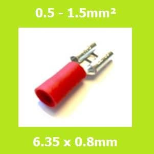 Female Terminal, FDD1-250, RED, 6.35x0.8mm, Double Crimp, Vinyl Insulated, (Pack of 100)