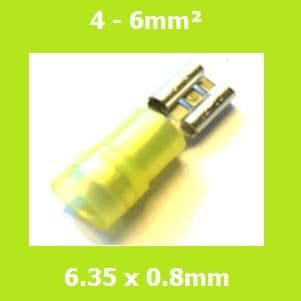 Female Terminal, FDD5-250, Light Yellow, 6.35x0.8mm, Double Crimp, Nylon Insulated, (Pack of 100)