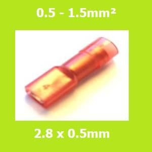Female Terminal, FDFNYD1-110 (5)LIGHT RED, 2.8x0.5mm, Double Crimp, Nylon Insulated (Pack of 100)