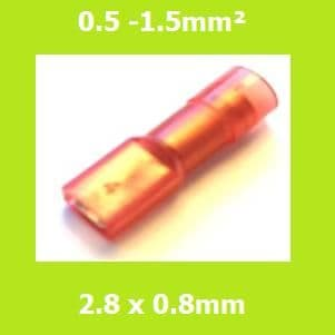 Female Terminal, FDFNYD1-110(8) LIGHT RED, 2.8x0.8mm, Double Crimp, Nylon Insulated (Pack of 100)