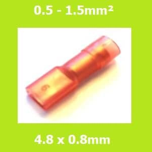 Female Terminal, FDFNYD1-187(8) LIGHT RED, 4.8x0.8mm,  Double Crimp, Nylon Insulated (Pack of 100)