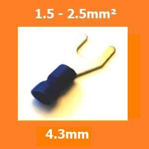 FORK CRIMP TERMINALS WIRE CONNECTORS INSULATED BLUE 4.3MM, PACK OF 100