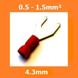 FORK CRIMP TERMINALS WIRE CONNECTORS INSULATED RED 4.3MM, PACK OF 100