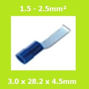 Lipped, Blade Terminal, LBVYB2-3, Brazed Seam, Blue, Vinyl Insulated, (Pack of 100)