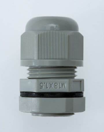 NCG-M18-10 GREY - M18 x 1.5 Cable Gland, IP68, 5-10mm, UL Nylon 66