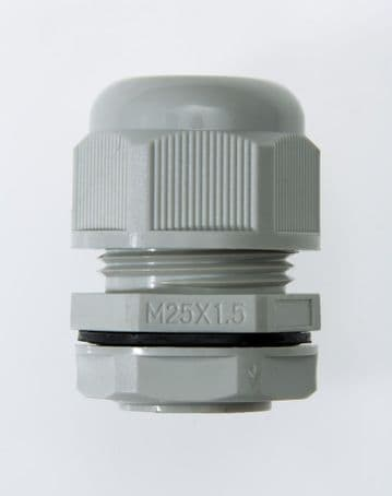 NCG-M25-18 GREY - M25 x 1.5 Cable Gland, IP68, 12.5-18mm, UL Nylon 66