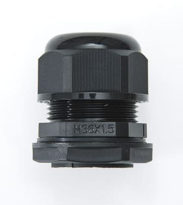 NCG-M36-25 BLACK - M36 x 1.5 Cable Gland, IP68, 17-25mm, UL Nylon 66