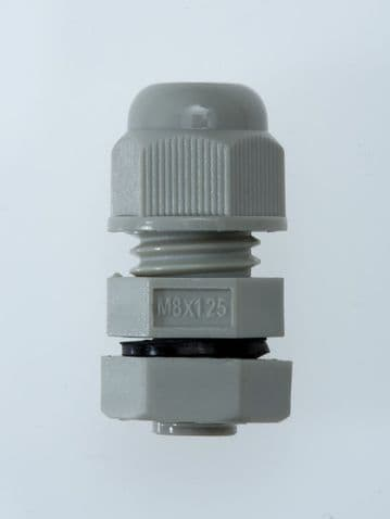 NCG-M8-4.8 GREY - M8 x 1.25 Cable Gland, IP68, 2-4.8mm, UL, Nylon 66