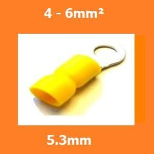 RING CRIMPS TERMINALS ELECTRICAL CONNECTORS INSULATED YELLOW 5.3mm 4-6mm, PACK OF 100