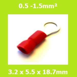 Ring Terminal, RVE1-3.2, 3.2mm, RED, Vinyl Insulated, (Pack of 100)