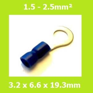 Ring Terminal, RVE2-3.2, 3.2mm, Blue, Vinyl Insulated, (Pack of 100)