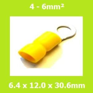Ring Terminal, RVE5-6, 6.4mm, Yellow, Vinyl Insulated, (Pack of 100)