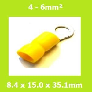 Ring Terminal,  RVE5-8, 8.4mm, Yellow, Vinyl  Insulated, (Pack of 100)