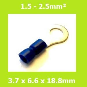 Ring Terminal, RVYS2-3.7, 3.7mm, Blue, Vinyl Insulated, (Pack of 100)