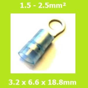 Ring Terminals, RNYD2-3.2, 3.2mm, Blue, Nylon Insulated, (Pack of 100)