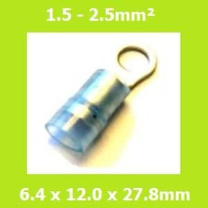 Ring Terminals, RNYD2-6, 6.4mm, Blue, Nylon,  (Pack of 100)