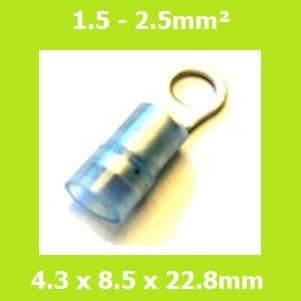 Ring Terminals, RNYDL2-4, 4.3mm, Blue, Nylon Insulated, (Pack of 100)