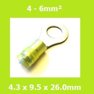 Ring Terminals, RNYDS5-4, 4.3mm, Yellow, Nylon Insulated, (Pack of 100)