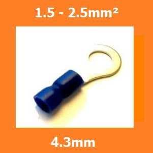 RV2-4S Ring Crimp Terminal, 4.3mm, BLUE, Vinyl Insulated, 1.5-2.5mm² (Pack of 100)