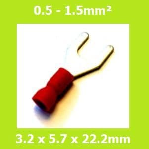 Spade Terminal, Fork Terminals, SV1-25-3, 3.2mm, RED, Vinyl Insulated, (Pack of 100)