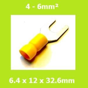 Spade Terminal, Fork Terminals, SVEL5-6, 6.4mm, Yellow, Vinyl Insulated, (Pack of 100)