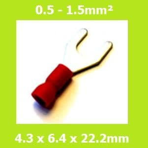 Spade Terminal, Fork Terminals, SVES1-4, 4.3mm, Red, Vinyl Insulated, (Pack of 100)