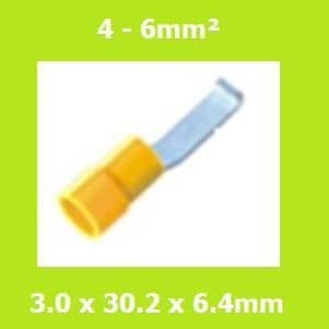 Vinyl, Lipped, Blade Terminal, Brazed Seam, Yellow, LBVYB5-3, (Pack of 100)