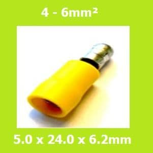 Vinyl, Male Bullet Terminal, Double Crimp, Yellow, MPD5-195, (Pack of 100)
