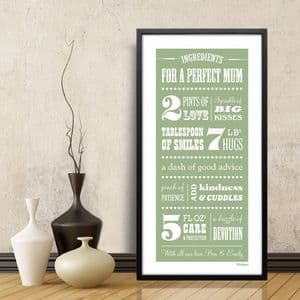 Ingredients for a Perfect Mum Personalised Print - Long