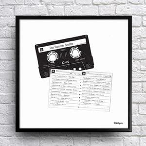 Personalised Mix Tape Tracklist Art. Word Art from Wallspice