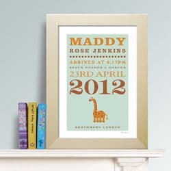Personalised New Baby Print - Giraffe