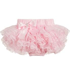 Beau kid cotton and lace knickers pink, white and ivory